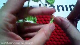 آموزش تزیین لیف توت فرنگی  بافت برگ شکوفه