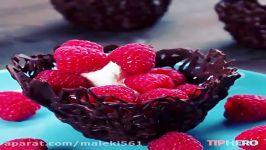 خلاقیت در تزیین دسر ظرف شیرینی خوری یا میوه خوری