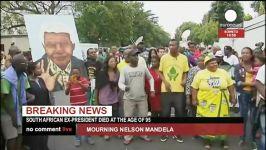 عزاداری مردم افریقا جلو خانه نلسون ماندلا