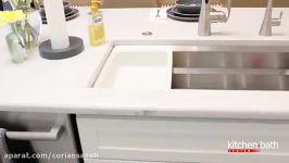 طراحی اشپزخانه کابینت سفید سنگ کوارتز یا کورین