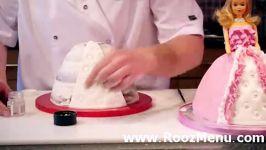 آموزش تزئین کیک در روزمنو  تزئین کیک عروسکی شماره 2