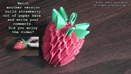اوریگامی سه بعدی توت فرنگی  آموزش ساخت توت فرنگی کاغذی  کاردستی