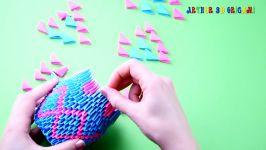 اوریگامی سه بعدی گلدان  آموزش ساخت گلدان کاغذی  کاردستی