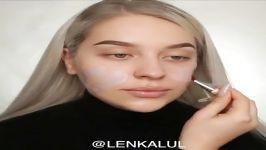 آموزش آرایش صورت میکاپ  ترفندهای آرایش صورت میکاپ چشم سایه لب رژلب 15