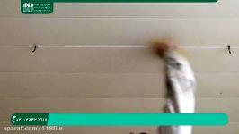 آموزش نقاشی ساختمان  رنگ ساختمان  رنگ امیزی خانه رنگ آمیزی سقف پنل چوبی