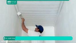 آموزش نقاشی ساختمان  نقاشی ساختمان غلطک روش رنگ آمیزی سقف پنل چوب