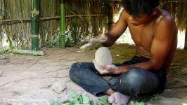 ساخت یک ظرف سفالی در جنگل برای آشپزی تکنیک زندگی 20