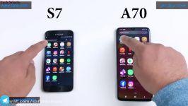تست سرعت گوشی A70 سامسونگ مقایسه آن گوشی s7 سامسونگ