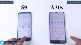 تست سرعت مقایسه گوشی A30 سامسونگ گوشی s9 سامسونگ