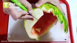تزیین هندوانه به شکل ظرف میوه  فیلم آشپزی