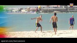 والیبال ساحلی بازی کردن مسی بازیکنان بارسلونا