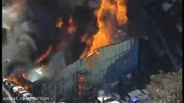 آتش سوزی گسترده در پارکینگ خودروهای اسقاطی