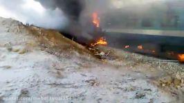 لحظه تصادف دو قطار مسافری در ایستگاه هفت خوان دامغان