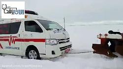 بیرون آوردن آمبولانس اورژانس برف در روانسر