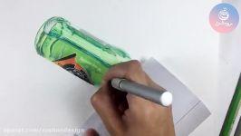 نقاشی مداد رنگی اشیا شیشه ای سه بعدی دوره مداد رنگی۱