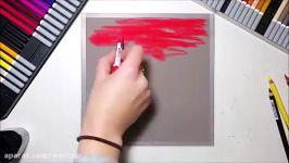 نقاشی زیبا مداد شمعی مداد رنگی