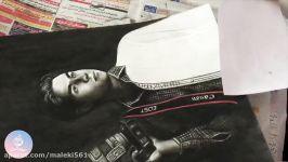 drawing portrait  نقاشی چهره به سبک سیاه قلم زغال مداد سیاه