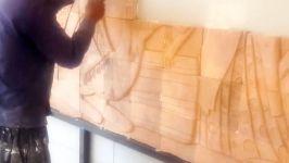 سفال نقش برجسته ، مراحل نصب بروی دیوار ، نگین سفال.