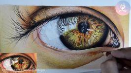 نقاشی هایپررئال چشم مداد رنگی  بخشی مداد رنگی ۲