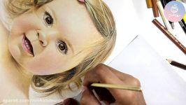نقاشی چهره کودک مداد رنگی جلسه هفتم دوره مداد رنگی۲