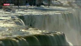 یخ بستن آبشار نیاگارا در اثر سرمای شدید قطبی