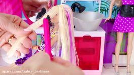Barbie Doll Hair Style Salon  play baby dolls hair cut hair wash hair curl in Barbie salon shop